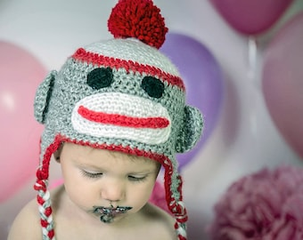 Sock Monkey Trapper Hat, All Ages, Birthday Smash Cake Hat, Earflap Hat