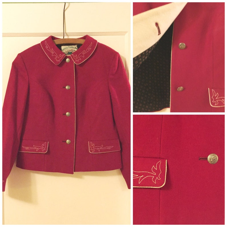 Vintage Original Steiner Loden Trachten Red Skirt Suit Etsy