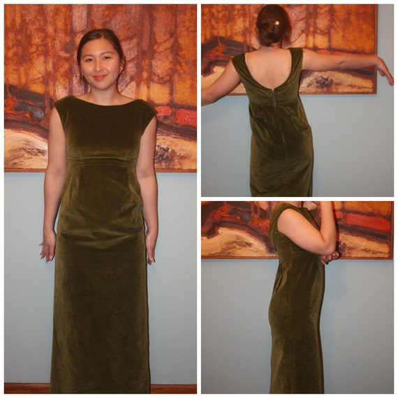 Vintage Green Velvet Long Dress, 1960's or 70's Re