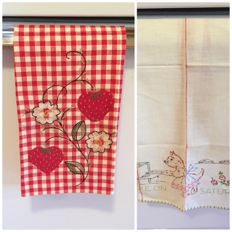 Vintage Cotton/ Linen Kitchen Towels Tea Towels Hand