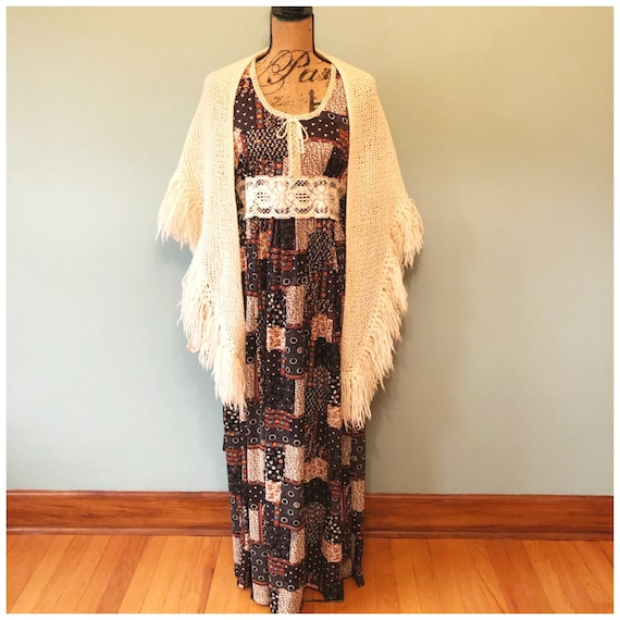 Vintage 1970s Hippy Boho Dress, Retro Zipper Polye