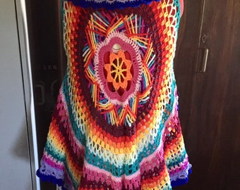 Ladies Crochet Boho Vest Hippie Vest Circle Vest