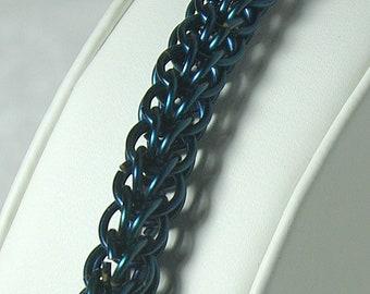 Blue Box Weave Chain Maille Bracelet