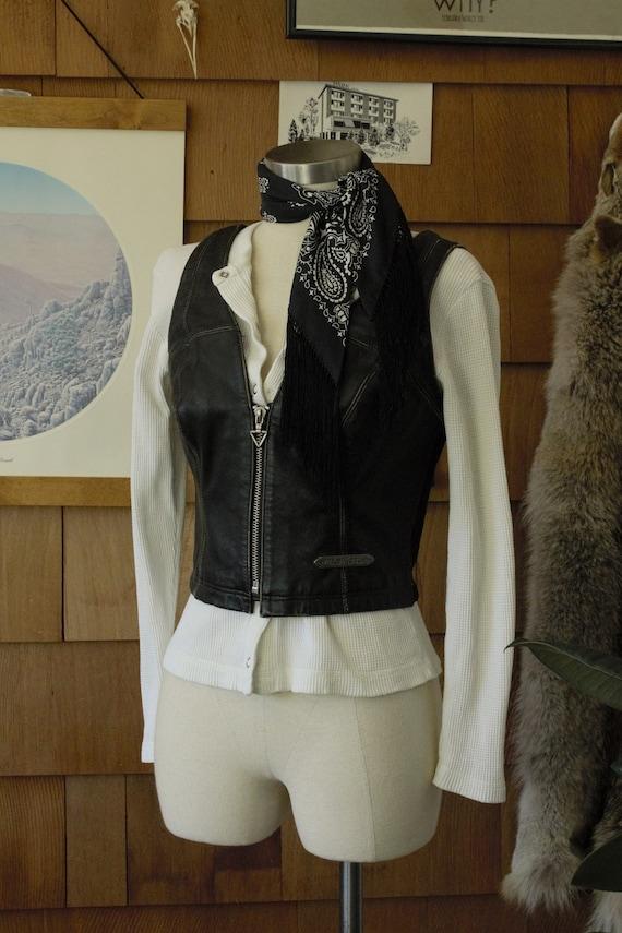1990's Women's Leather Harley Davidson Vest