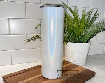 30 oz White Glitter, Skinny STRAIGHT SUBLIMATION Blank