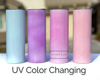 20 oz UV Color with Glitter STRAIGHT Sublimation Stainless Steel Tumbler, Water Bottle, aqua, purple, pink, coral