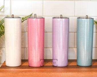 20 oz Skinny Glitter STRAIGHT sublimation Blank Stainless Steel sublimate Tumbler Water Bottle straws, white, pink, aqua, purple wholesale