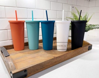 22oz Acrylic Matte Colored double walled insulated blank Cold Cup Tumbler with matching straw, wholesale