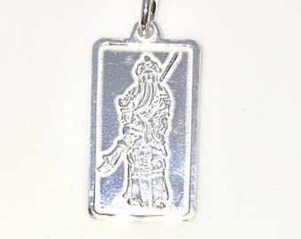 Brand New 925 Solid Sterling Silver Medium Pendant with rectangle shape Guan Yu and Chinese letters