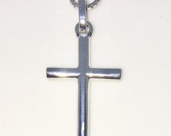 New White Gold on 925 Sterling Silver Pendant Small Rounded Cross with 16 inch Silver Chain ( 15 . 1 mm )
