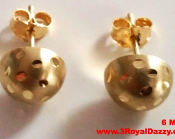 14k Yellow gold layer on 925 Sterling Silver Half Round Flat Ball Stud Earrings 6 MM