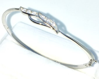New White Gold Layered on 925 Solid Sterling Silver Oval Bangle Bracelets rows of White round CZ and Box clasp