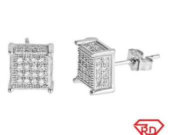Small size Platinum Layered on .925 Sterling Silver Square shape Micropave Stud Earrings