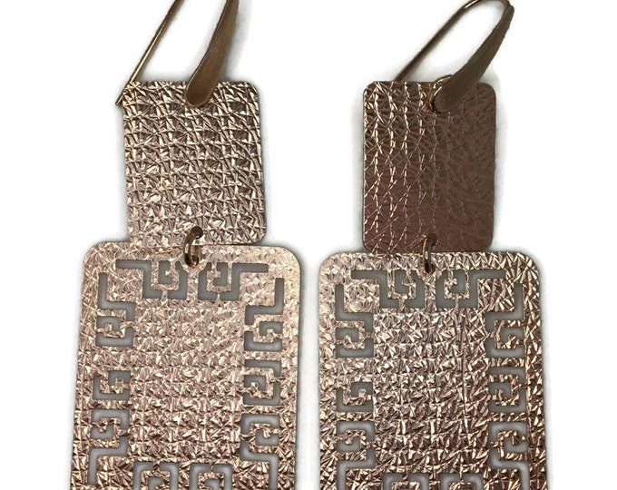 Dangle Drop earrings artistic rectangle rose gold on silver