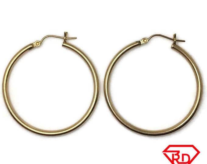 14K Hollow Hoop medium plain Earrings of yellow gold