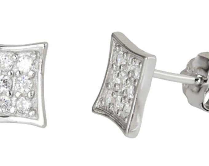 14k white gold layer on Small Flat Square micro pave CZ 925 Sterling Silver Stud Earrings