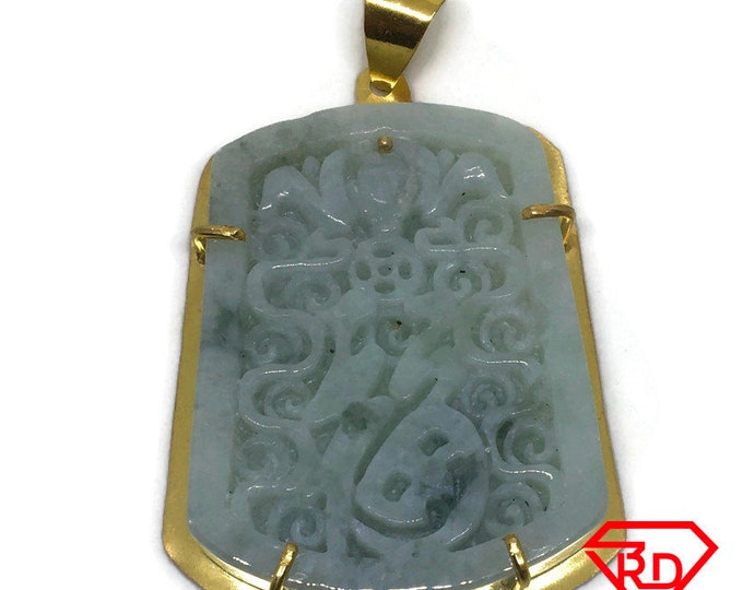 Artistic Fortune Green Jade Pendant layered 18K Yellow gold
