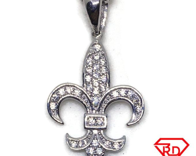 Fleur de lis CZ white gold on silver pendant