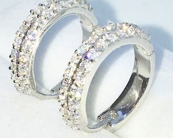 Brand New White Gold on 925 Solid Sterling Silver One sided double row white round CZ hoop Earrings ( 16 . 1 mm )