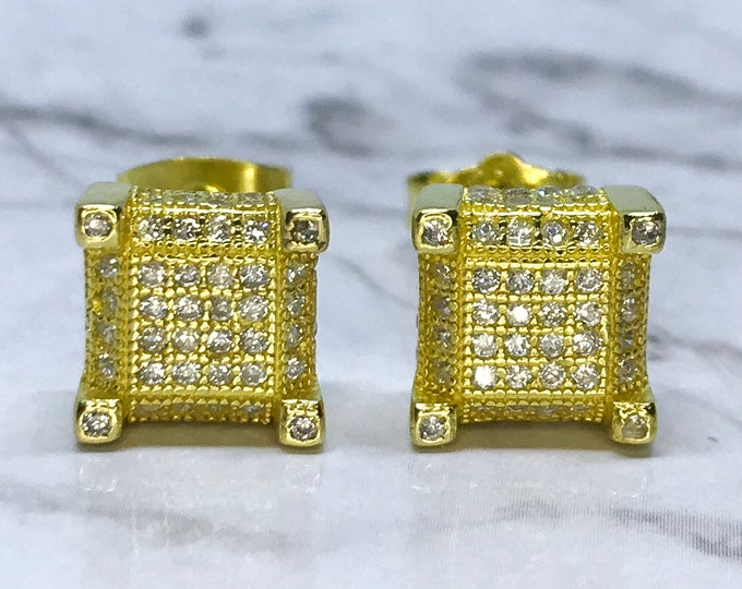 NEW 14k yellow gold on sterling silver square shaped with stones stud earrings