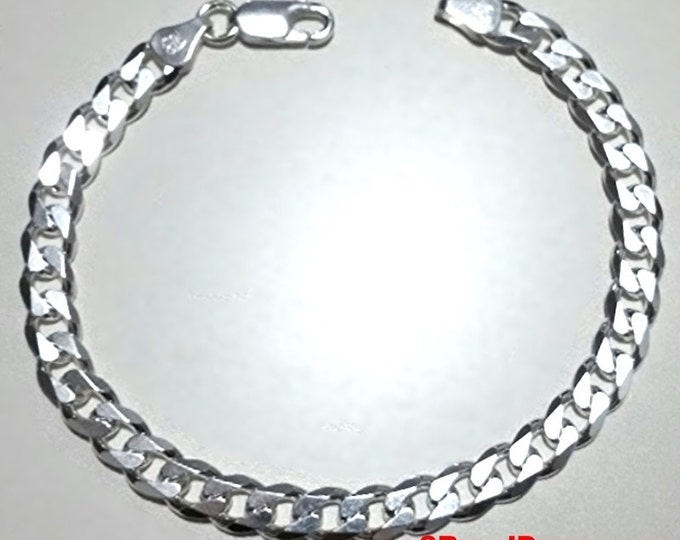 Men Women Children Sterling Silver Italian Cuban Curb Link Chain Bracelet 5.5mm 9""