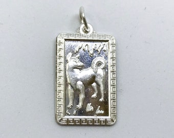 NEW .990 Sterling Silver Year of the Dog Rectangular Lucky Pendant