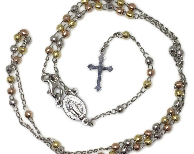 3 tone layer Rosary disco beads and dangling cross on solid silver