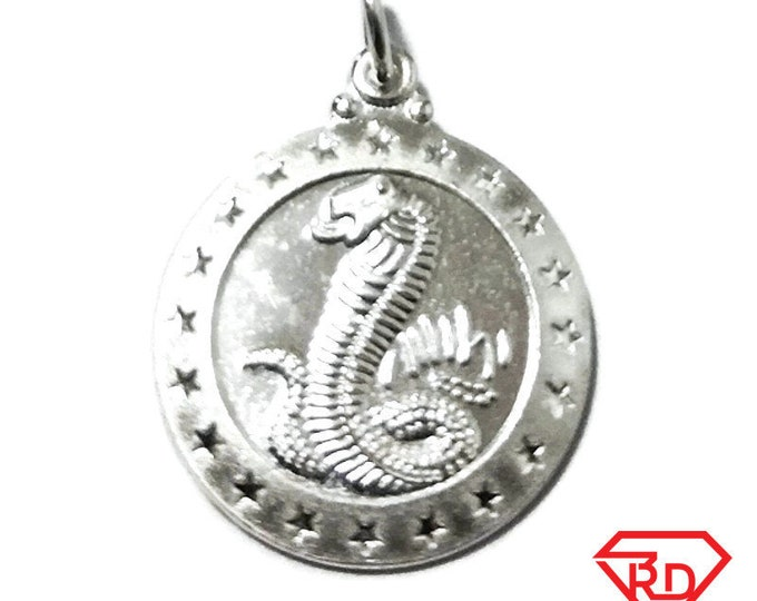 Small Chinese Zodiac Horoscope 999 fine Silver Round Year of Snake Pendant charm