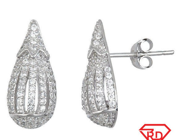 Fancy Teardrop Shaped .925 Sterling Silver Micro Pave CZ Fashion Earrings