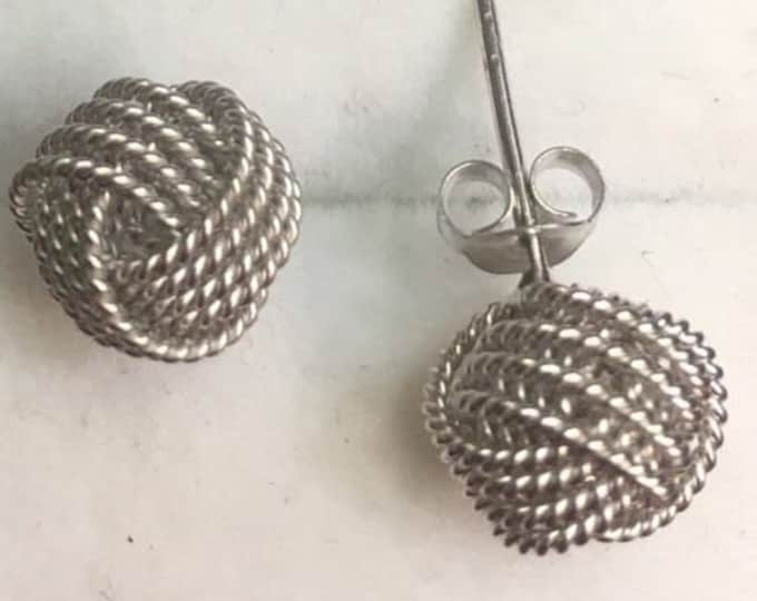 New 14k white gold on 925 sterling silver silver knot earring