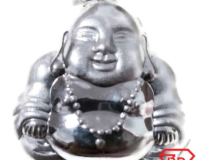 Exceptional Smiling Reversible Buddha .999 Solid Silver Hollow Pendant
