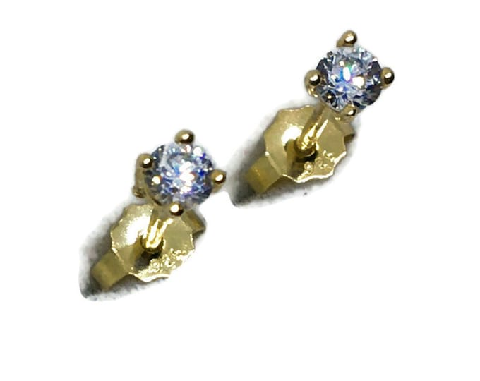 Tiny round white CZ yellow gold on Silver studs Earrings