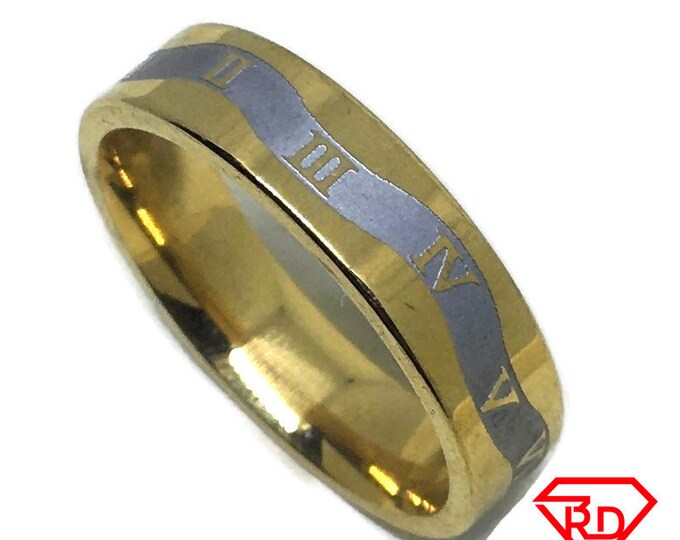 Roman numbers ring band Gold plated Titanium Steel S11 . 5