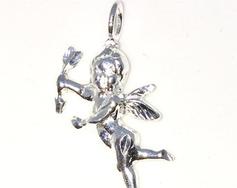 Brand New 925 Solid Sterling Silver Medium Pendant with Fairy of Love Cupid