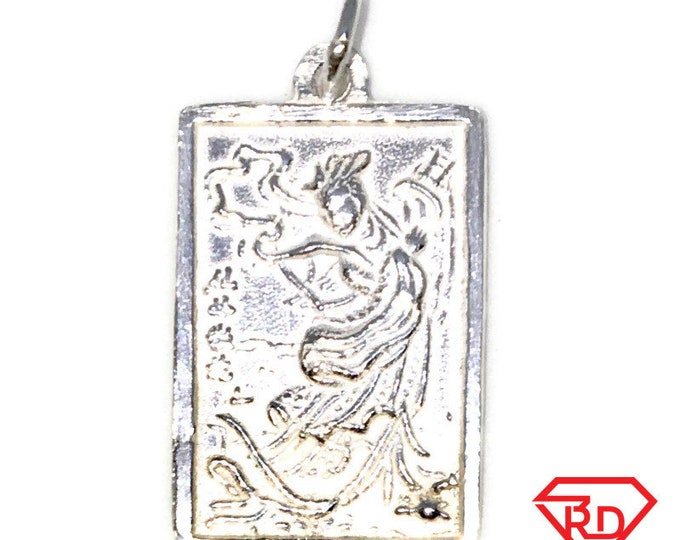 New 925 Silver Medium Pendant rectangle shape Chinese Saint