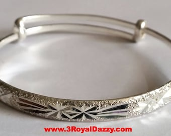 Handmade Anti Tarnish 925 Sterling Silver Criss Cross Pattern Newborn Adjustable Bangle