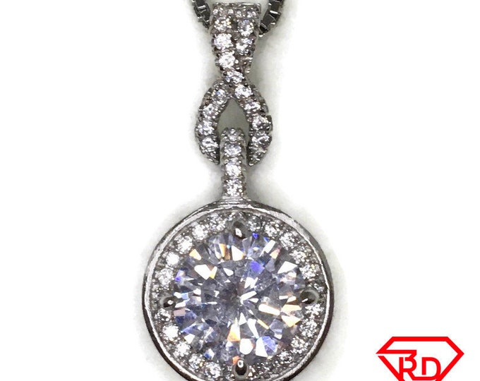 Cubic Zirconia Dangling Circle charm pendant white gold on silver