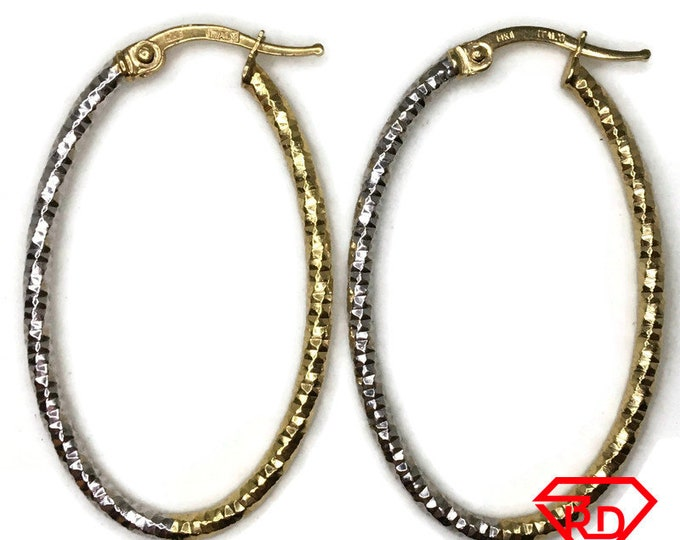 14K Hollow diamond cut oval Hoop Earrings of 2 tone gold