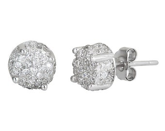 All side Mirco Pave set on CZ .925 sterling silver Earrings with 18k white gold layered