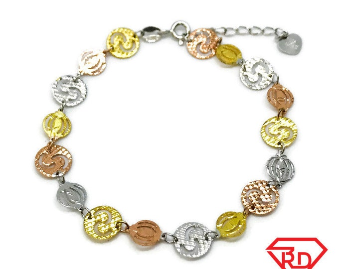 NEW 14k Rose, White And Yellow Gold Layer On 925 Sterling Silver Circle Link Bracelet 0.4 mm -8""