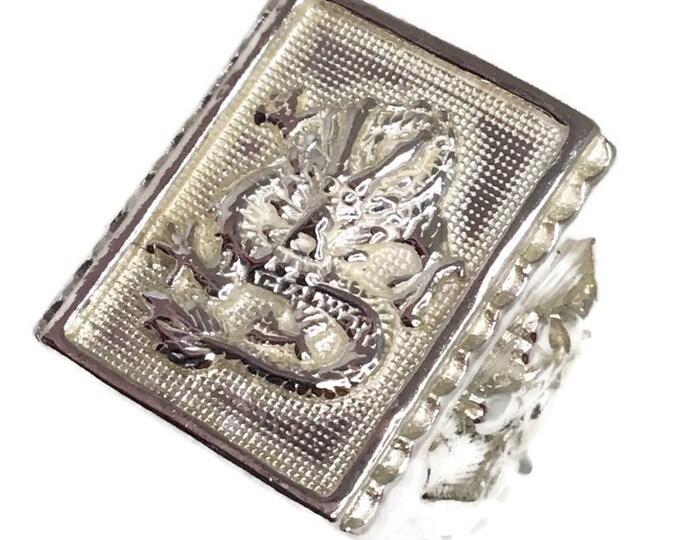 dragon & fish Men ring Anti-Tarnish Silver Band (Size  8 . 5)