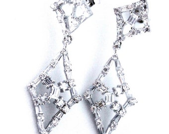 Beautiful Elegant 14K White Gold on Silver Dangling Earrings