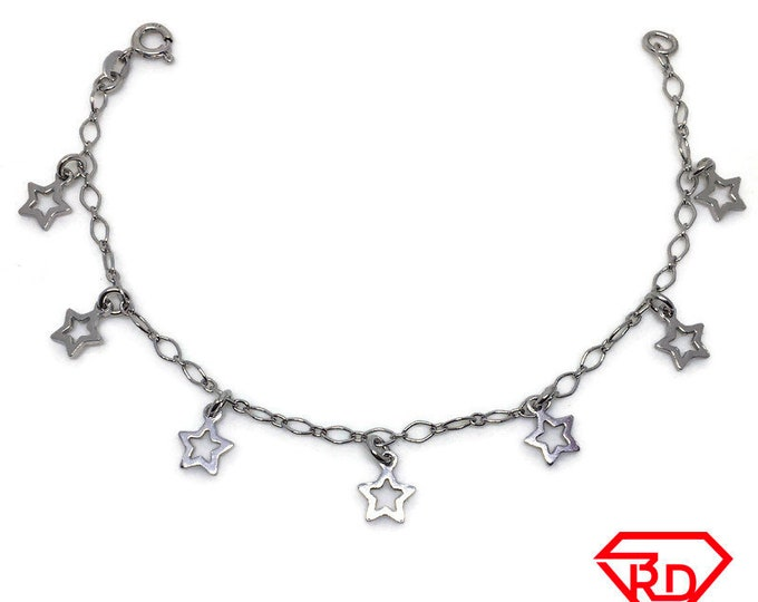 Star charm Bracelet 8 inch Marquis chain White gold Layer