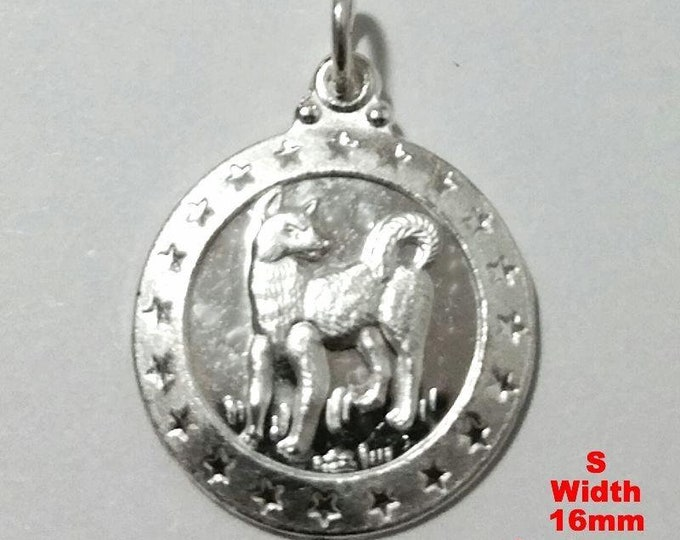 Small chinese zodiac horoscope 999 fine silver round year of dog pendant charm