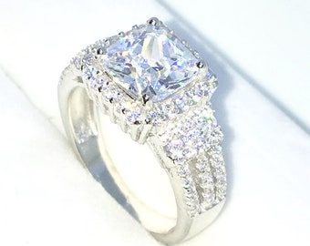 New Handcraft White Gold Plated on Sterling Silver engagement ring band with large princess white CZ and small round white cz