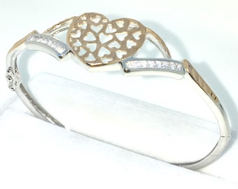 New White and Rose Gold Layered on 925 Solid Sterling Silver Oval Bangle Bracelets White Emerald CZ & Heart and Box clasp