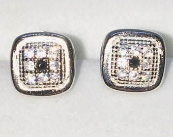 Brand New White Gold on 925 Solid Sterling Silver Square with white round CZ and Black CZ centr studs Earrings ( 7 . 1  mm )