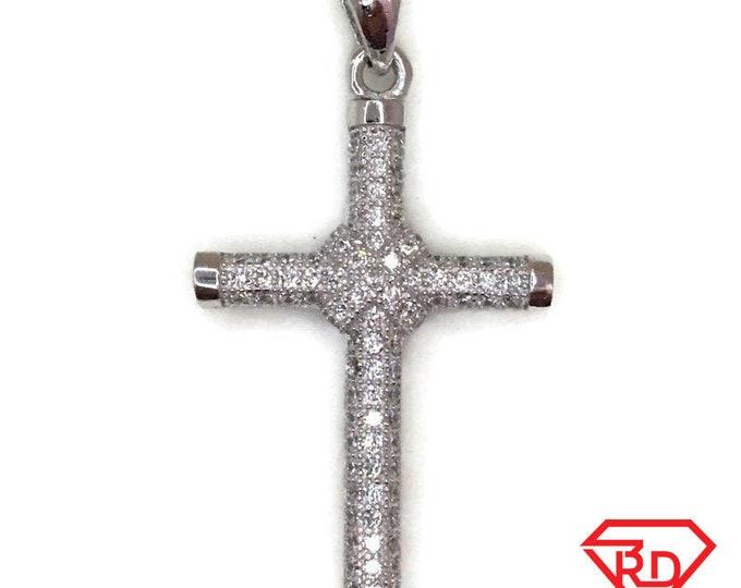 White Gold layer Silver Pendant Knot Cross & white round CZ