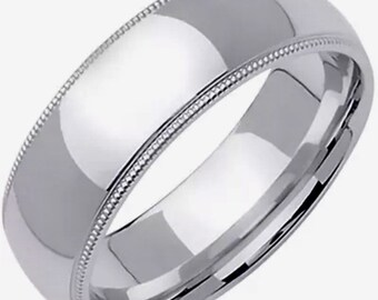 6mm Size 10 - Handcrafted solid 925 Silver high polished Rhodium plain wedding Ring Band