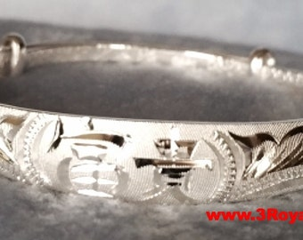 Handmade Longevity and Happiness 999 Solid Fine Silver Adjustable Bangle